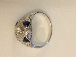 Vintage Antique Engagement Ring Diamond And 4 Sapphires