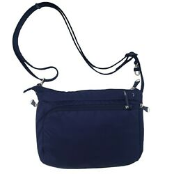 PacSafe eBags Anti Theft RFID Steel Cable Strap Crossbody Blue Expandable Purse $34.99