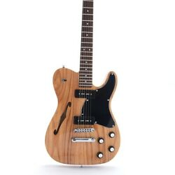 Tl Electric Guitar F Hole Semi Hollow Body P90 Pickups Ash Body Nature Color