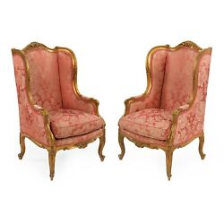 Pair Of French Louis Xv Style Antique Carved Giltwood Bergere Arm Chairs C.1880