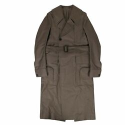 Nwt Rick Owens Dust Cotton Woven 'della' Long Trench Coat Size 38/48 3640