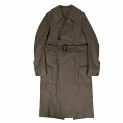 Nwt Rick Owens Dust Cotton Woven And039dellaand039 Long Trench Coat Size 38/48 3640