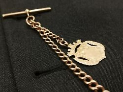 Vintage 9ct Rose Gold Single Albert P/watch Chain With Shield Fob 29.8 Grams