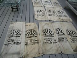 Vintage Used Stained Canvas Grain Feed Bags Springfield MA Farmhouse Chic $54.99