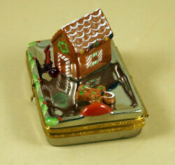 New French Limoges Trinket Box Christmas Tray With Gingerbread House Man Candy
