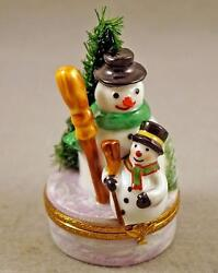 New French Limoges Trinket Box Snowman With Cute Small Snowman W Christmas Tree