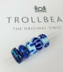 Authentic Trollbeads Glass Lot Of 5 Beads Charms Blue New