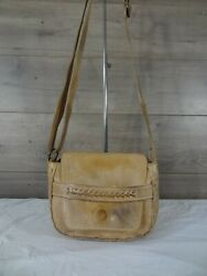 Bed Stu Whipstitch Tan Leather Crossbody Shoulder Bag Satchel Handbag Purse $50.00