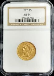 1897 Gold United States 5 Dollar Liberty Head Half Eagle Coin Ngc Mint State 64