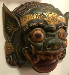 Vintage Antique Mask Hand Carved Balinese Barong Wooden Asian Ceremonial Beast