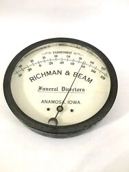Rare Antique Vtg Funeral Home Glass Front Thermometer Sign Richman Beam Iowa Ia