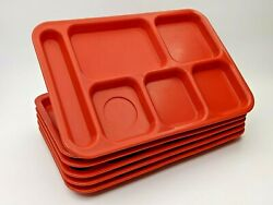 Plastic Lunch Tray Cambro Bct 1014r Red Trays - Lot Of 6
