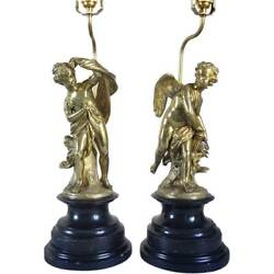 Pair Antique French Henri Picard Ormolu Cupid And Psyche Table Lamps C. 1860