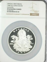 1989 China Proof 5 Ounces Silver Medal Guanyin Ngc Pr69 Ultra Cameo