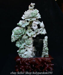 18.8 Chinese Natural Dushan Jade Carved Fengshui Flower Bird Beast Cup Statue