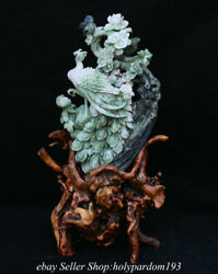 11.6 Chinese Natural Dushan Green Jade Carved Fengshui Flower Peacock Statue
