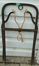 Antique Hay Harpoon Metal Fork Hook Grapple With Twine Rope 36 X 17 B