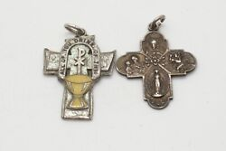 Wwii - Vietnam War Sterling Army, Navy, Usmc Christian Chaplain Medals Lot Of 2