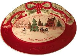 Fitz And Floyd Platter Snowman Home Warms The Heart Christmas Tree Holidays