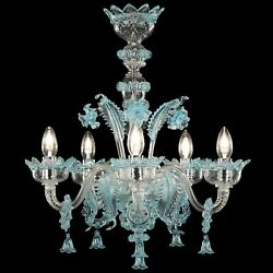 Hanging Chandelier Glass Murano 5xe14 Clear And Colour Customizable