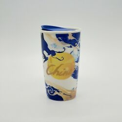 💥 Rare Starbucks China Double Walled Ceramic Tumbler With Lid 12 Oz 2016 💥
