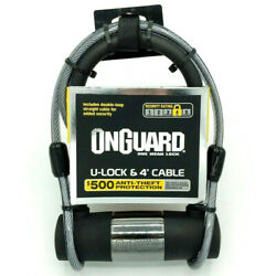 Onguard U-lock 4-foot Cable Anti-theft Protection Key Security Rating 4 New Safe