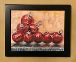 Christmas Balls 10x8 Original Oil Painting Signed Nyc Fountain Red Art Artists