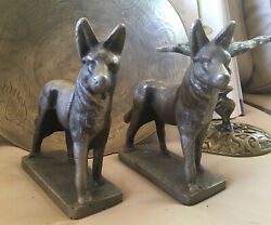 Vintage German Sheppard Bookends... Very Heavy. Stamped 1933.