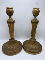 Bronze Gold Gilted Candlestick Holders Set