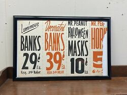 Framed Vtg Planters Peanuts Old Store Window Card-stock Sign Halloween Masks Ad