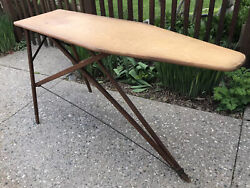 Antique Wood Metal Primitive Ironing Board Folding 55andrdquo Sofa Cocktail Drink Table