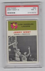 1961 62 Fleer Basketball Jerry West In Action 66 Psa 7 - Last Card In Set