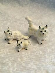 set of 3 miniature Persian white with black kittens cat porcelain. 2 1 inch.
