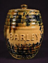 Rare 1860 Barley Canister With Lid And Tri-color Spatter Glaze Yellow Ware Mint