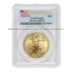 2012-w 50 Burnished Gold Eagle Pcgs Ms70 First Strike American 1 Oz Coin Flag