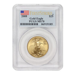 2008 25 American Gold Eagle Pcgs Ms70 First Strike 1/2 Ounce 22kt Coin W/ Flag