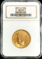 1910 D Gold United States 10 Indian Head Eagle Coin Ngc Mint State 63 Pq