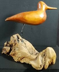 Vintage Hand Carved Wooden Bird From Outer Banks Very Good Condition 1983