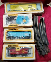 Vintage Bachmann Ho Scale Train Pieces-track,power Pack,reefer Box Car,caboose