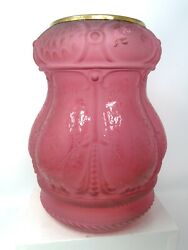Vintage Victorian Etched Red Cranberry Glass Lamp Shade Chimney