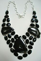 Magnificent Heavy Sterling Silver Botswana Druzy Black Spinel Necklace
