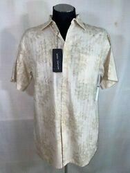 Mens Natural Issue Short Sleeve Collared Button Up Tropical Linen Shirt L M307
