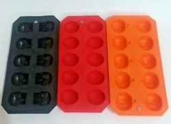Lot Of 3 Silicone Halloween Ice Cube/ Candy Molds. Skulls, Brains. Pumpkins
