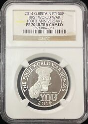 2014 Great Britain Commemorative 100 Pounds Platinum Coin Ngc Pf 70 Uc
