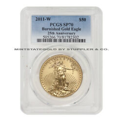 2011-w 50 Burnished Gold Eagle Pcgs Sp70 West Point 1oz 22kt American Coin