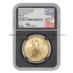 2018-w 50 Gold Eagle Ngc Ms70 First Releases American Burnished Coin Mercanti