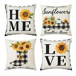 Farmhouse Decoration Throw Pillow Cover, Set Of 4 18x18 Inch Yellow Sunflower