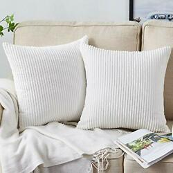 Throw Pillow Covers 2 Sets Decorative Pillow Covers 18x18 Inch A pure White