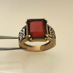 18 Kt Real Solid Yellow Gold Antique Jewelry Red Cz Menand039s Ring Size Rstuvw