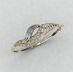 14 Kt Solid Yellow White Gold Cubic Zirconia Cz Womenand039s Bracelet Bangle 30 Grams